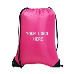 210D Nylon Drawstring Backpack with PU Leather Corner