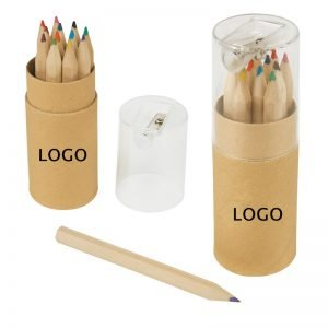 12-Piece Colored Pencil Tube With Sharpener